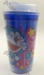 แก้วน้ำ 2 ชั้น มีฝาปิด - ลายโดราเอมอน Doraemon